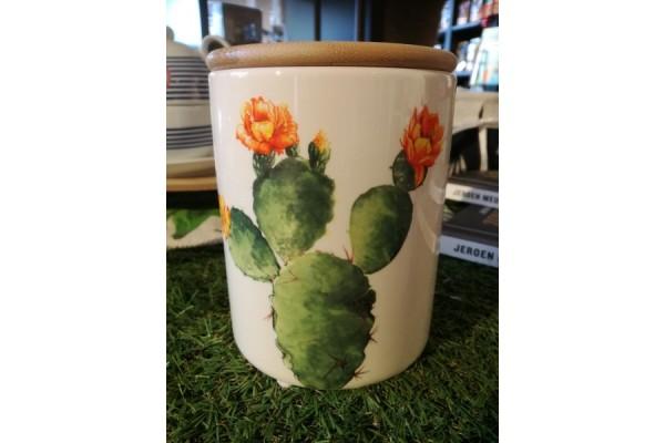 Porseleinen bewaarpot - Cactus