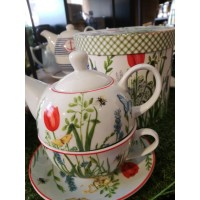 Tea for one - theepot in geschenkdoos - floraal motief